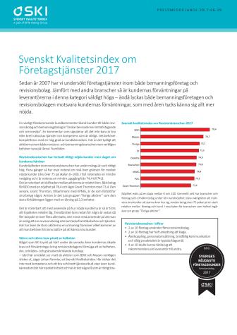 Svenskt Kvalitetsindex om Företagstjänster 2017