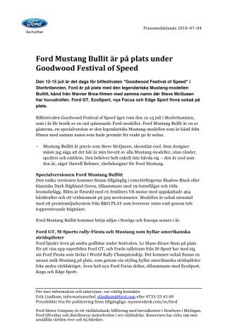 Ford Mustang Bullitt är på plats under Goodwood Festival of Speed