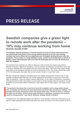 Swedish companies give a green light to remote work after the pandemic – 16% may continue working from home