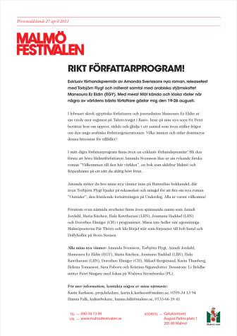 Innehållsrikt författarprogram på Malmöfestivalen