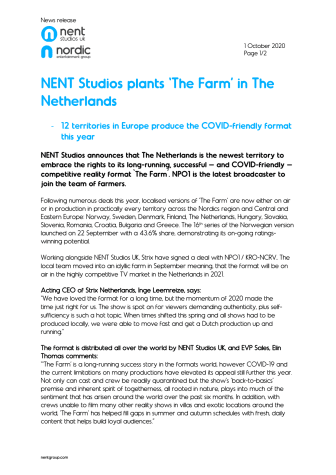 NENT Studios plants The farm in The Netherlands
