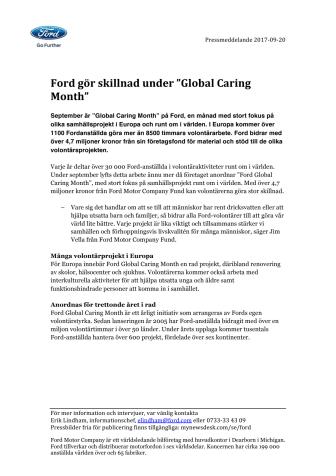 """Ford gör skillnad under """"Global Caring Month"""""""