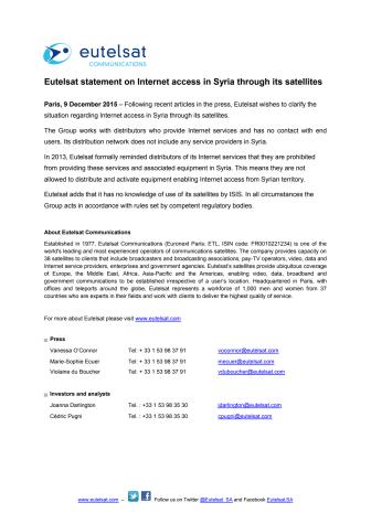 Eutelsat statement on Internet access in Syria through its satellites