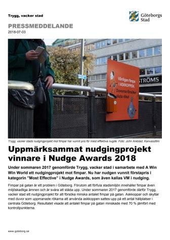 Uppmärksammat nudgingprojekt vinnare i Nudge Awards 2018