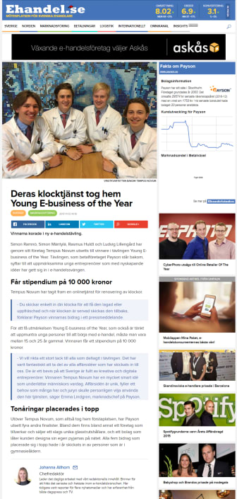 Deras klocktjänst tog hem Young E-business of the Year