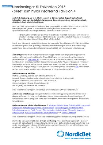 Nomineringar till Folkbollen 2015  - priset som hyllar insatserna i division 4