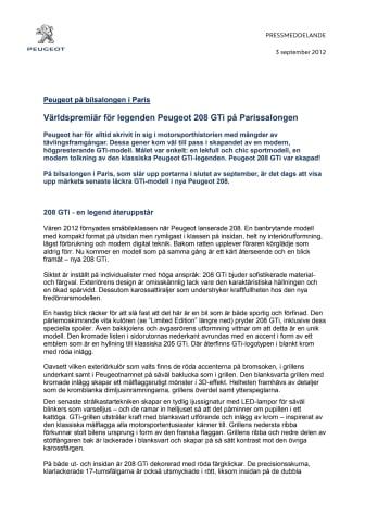 Peugeot på bilsalongen i Paris: Världspremiär för legenden Peugeot 208 GTi på Parissalongen