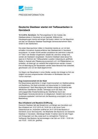 Deutsche Glasfaser startet mit Tiefbauarbeiten in Havixbeck