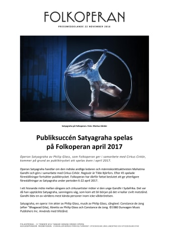 Publiksuccén Satyagraha spelas på Folkoperan april 2017