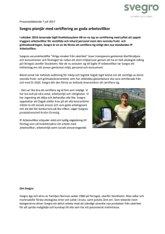 Svegro pionjär med certifiering av goda arbetsvillkor