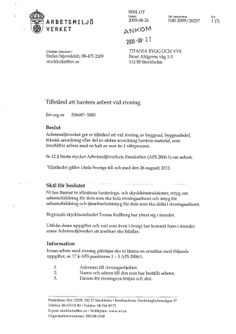 Titanias asbestsaneringstillstånd från Arbetsmiljöverket