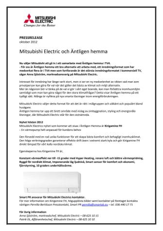 Mitsubishi Electric och Äntligen Hemma