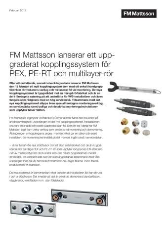 FM Mattsson lanserar ett uppgraderat kopplingssystem för PEX-, PE-RT-, PB- och multilayer-rör