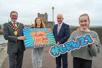 Pictured with The Mayor of Mid and East Antrim, Councillor William McCaughey is Martin McDonald, Chair of The Community Relations Council and Sophie Grier and Evie Dorrian from Uplift Performing Arts