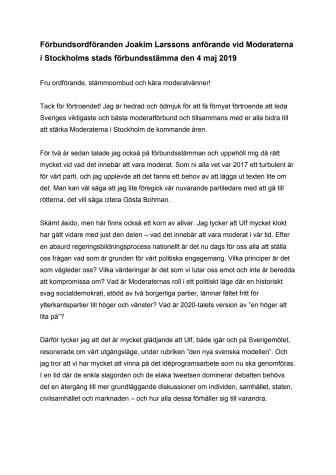 Joakim Larsson omvald som förbundsordförande för Moderaterna i Stockholms stad