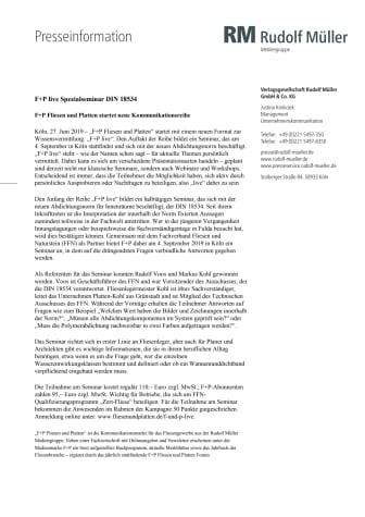 F+P live: Spezialseminar DIN 18534