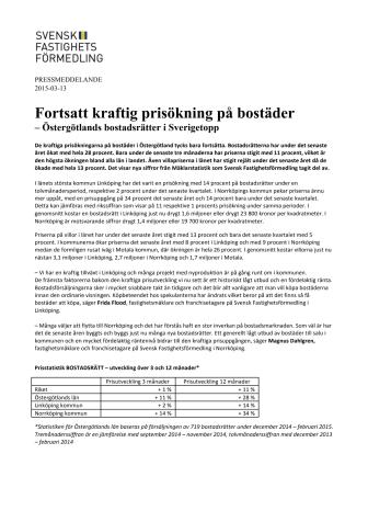 Fortsatt kraftig prisökning på bostäder - Östergötlands bostadsrätter i Sverigetopp