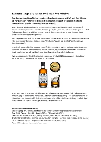Exklusivt släpp: 180 flaskor Kyrö Malt Rye Whisky!