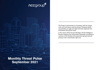 NCC Group Monthly Threat Pulse September 2021