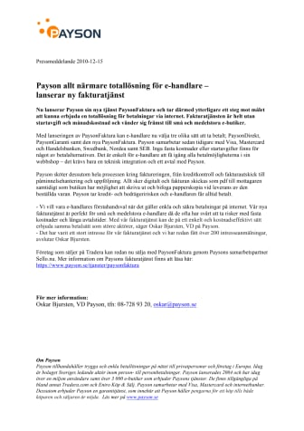 Payson allt närmare totallösning för e-handlare –  lanserar ny fakturatjänst