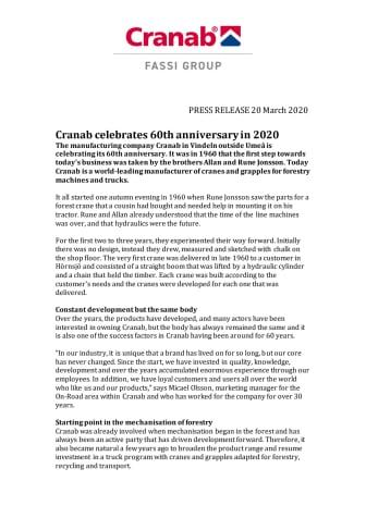 Cranab celebrates 60th anniversary in 2020