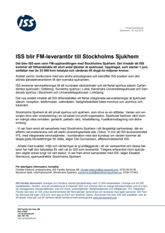 ISS blir FM-leverantör till Stockholms Sjukhem