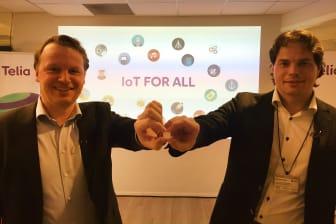 Jon Christian Hillestad, teknisk direktør i Telia, og Erik Fossum Færevaag, CEO i Disruptive Technologies