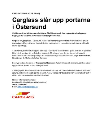 Carglass® slår upp portarna i Östersund