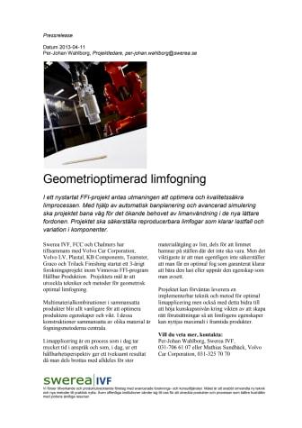 Geometrioptimerad limfogning - ett nytt FFI-projekt