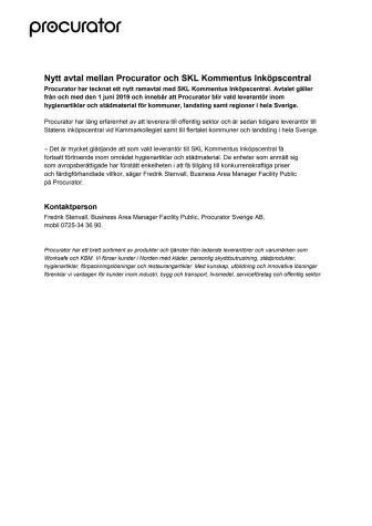 Nytt avtal mellan Procurator och SKL Kommentus Inköpscentral