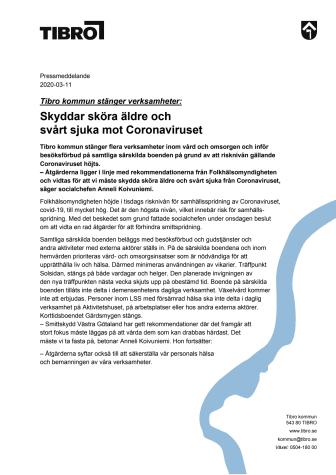 Pressmeddelande om Tibro kommuns åtgärder för att motverka spridning av Coronavirus i vård- och omsorgsverksamheten