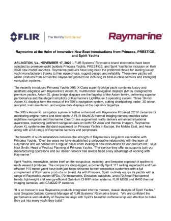 Raymarine at the Helm of Innovative New Boat Introductions from Princess, PRESTIGE, and Spirit Yachts