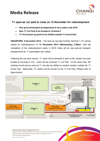T1 open-air car park to close on 12 November for redevelopment