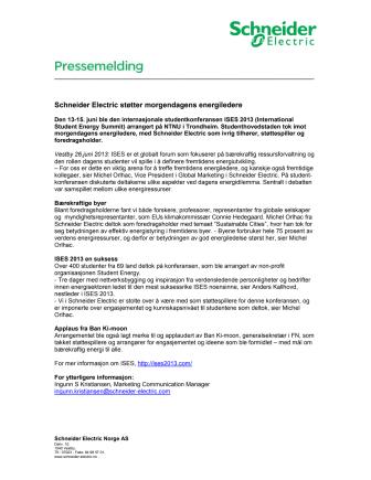 Schneider Electric støtter morgendagens energiledere