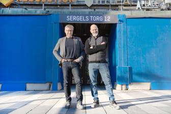 Mats Hederos och Per Sundin utanför ingång