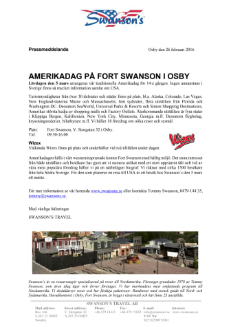 Amerikadag på Fort Swanson i Osby 5 mars