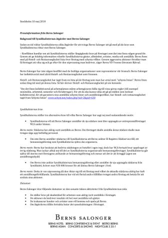 Bakgrund till Syndikalisternas sk blockad mot Berns Salonger