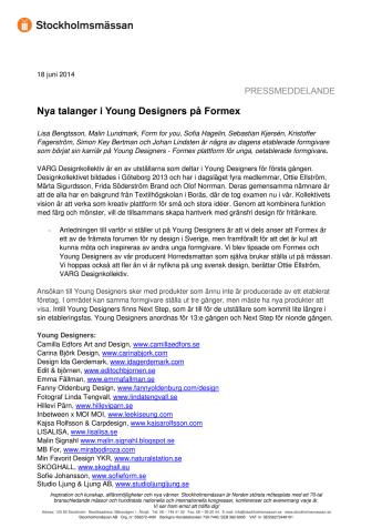Nya talanger i Young Designers på Formex