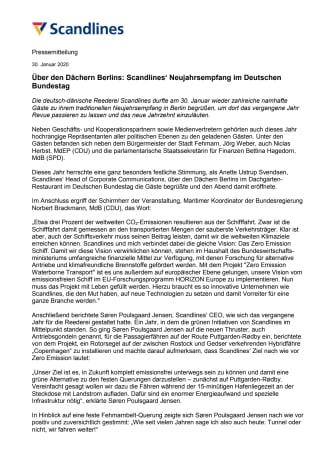 Über den Dächern Berlins: Scandlines' Neujahrsempfang im Deutschen Bundestag