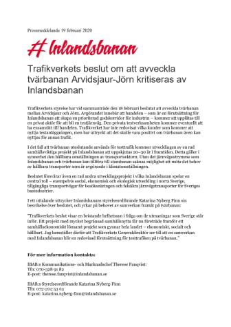 Trafikverkets beslut om att avveckla tvärbanan Arvidsjaur-Jörn kritiseras av Inlandsbanan