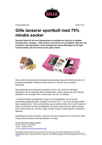 Gille lanserar sportboll med 75% mindre socker