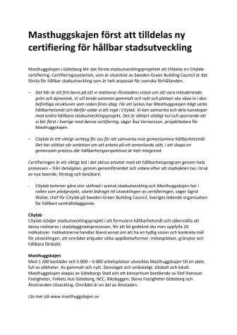 Masthuggskajen först att tilldelas ny certifiering för hållbar stadsutveckling