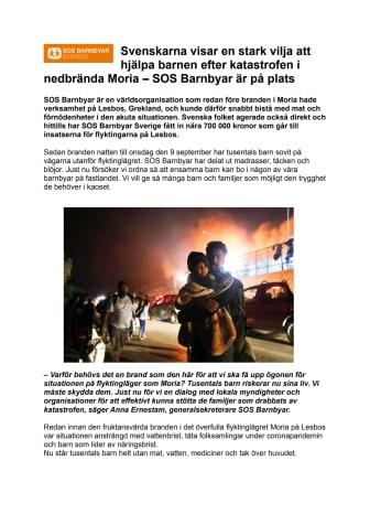Svenskarna visar en stark vilja att hjälpa barnen efter katastrofen i nedbrända Moria – SOS Barnbyar är på plats