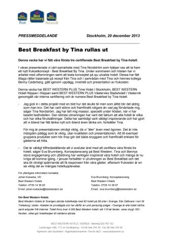 Best Breakfast by Tina rullas ut