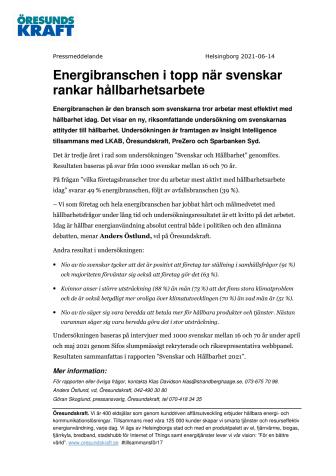 Energibranschen i topp när svenskar rankar hållbarhetsarbete