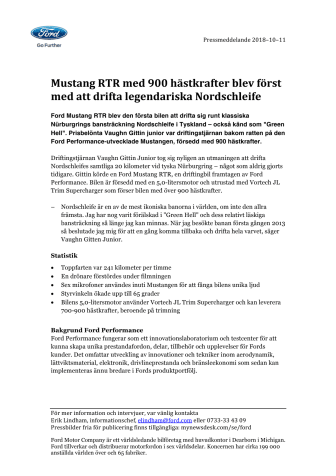 Mustang RTR med 900 hästkrafter blev först med att drifta legendariska Nordschleife