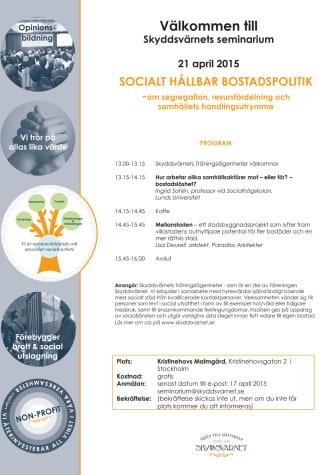 Skyddsvärnet välkomnar till seminarium om socialt hållbar bostadspolitik - lär mer om segregation, resursfördelning och samhällets handlingsutrymme