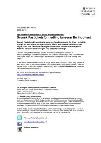 Svensk Fastighetsförmedling lanserar Bo ihop-test