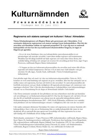 Regionerna och statens samspel om kulturen i fokus i Almedalen.