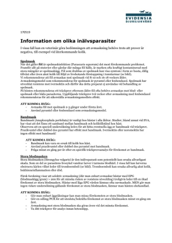 Information om olika inälvsparasiter